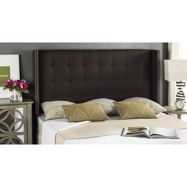Shop Safavieh Keegan Chocolate Linen Upholstered Tufted