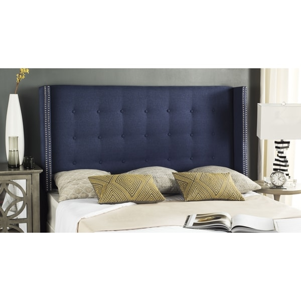 Safavieh Keegan Navy Tufted Upholstered Wingback Headboard (Queen)