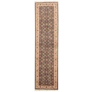 Herat Oriental Indo Hand-knotted Bidjar Navy/ Ivory Wool Runner (2'4 x 8'11)