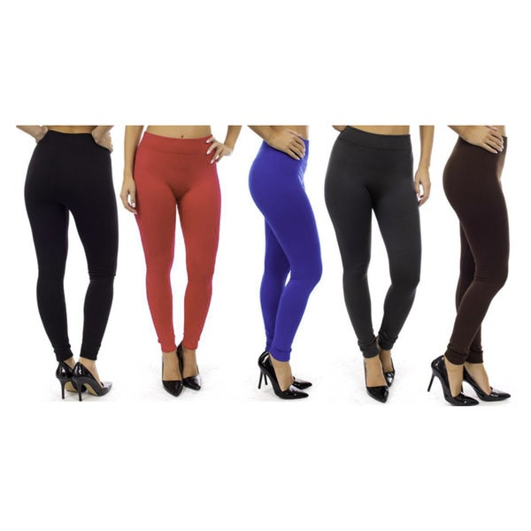Imperial Home Super Comfy Assorted Color Fleece Lined Leggings (Pack of 5)
