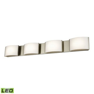Alico Pandora LED 4-light LED Vanity in Satin Nickel and Opal Glass