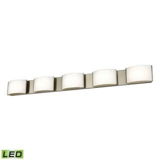 Alico Pandora LED 5-light LED Vanity in Satin Nickel and Opal Glass