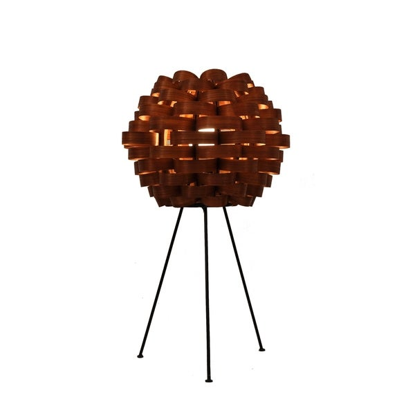 Handmade Bamboo Weave Carnation Brown Lamp (Philippines)