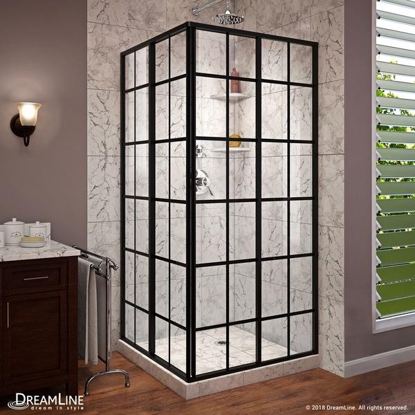DreamLine French Corner 34 1/2 in. D x 34 1/2 in. W x 72 in. H Framed Sliding Shower Enclosure