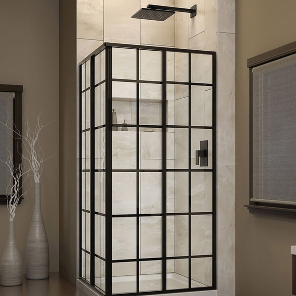 DreamLine French Corner 34.5 in. W x 34.5 in. D x 72 in. H Sliding Shower Enclosure