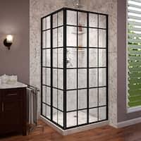 DreamLine French Corner 34 1/2 in. D x 34 1/2 in. W x 72 in. H Framed Sliding Shower Enclosure - Black - 34.5 in. w x 72 in. h
