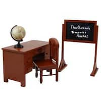 "The Queen's Treasures American School Teacher Desk, Chair, Globe and Chalkboard Fits 18"" Girl Doll Furniture"