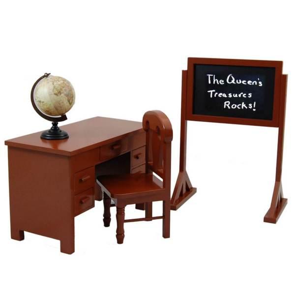 "The Queen's Treasures American School Teacher Desk, Chair, Globe and Chalkboard Fits 18"" Girl Doll Furniture"