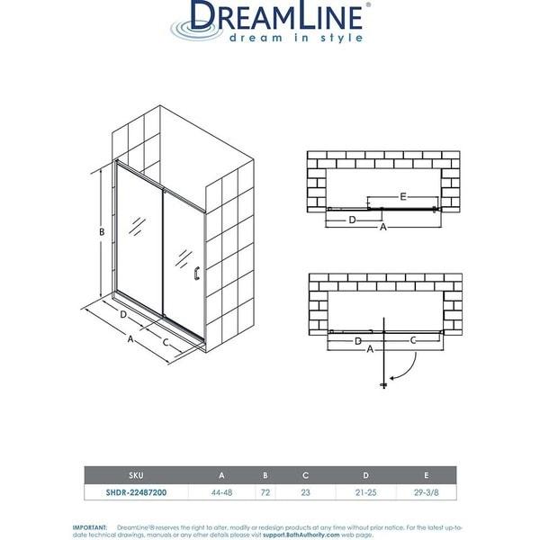 """DreamLine Flex 44-48 in. W x 72 in. H Semi-Frameless Pivot Shower Door - 44"""" - 48"""" W"""