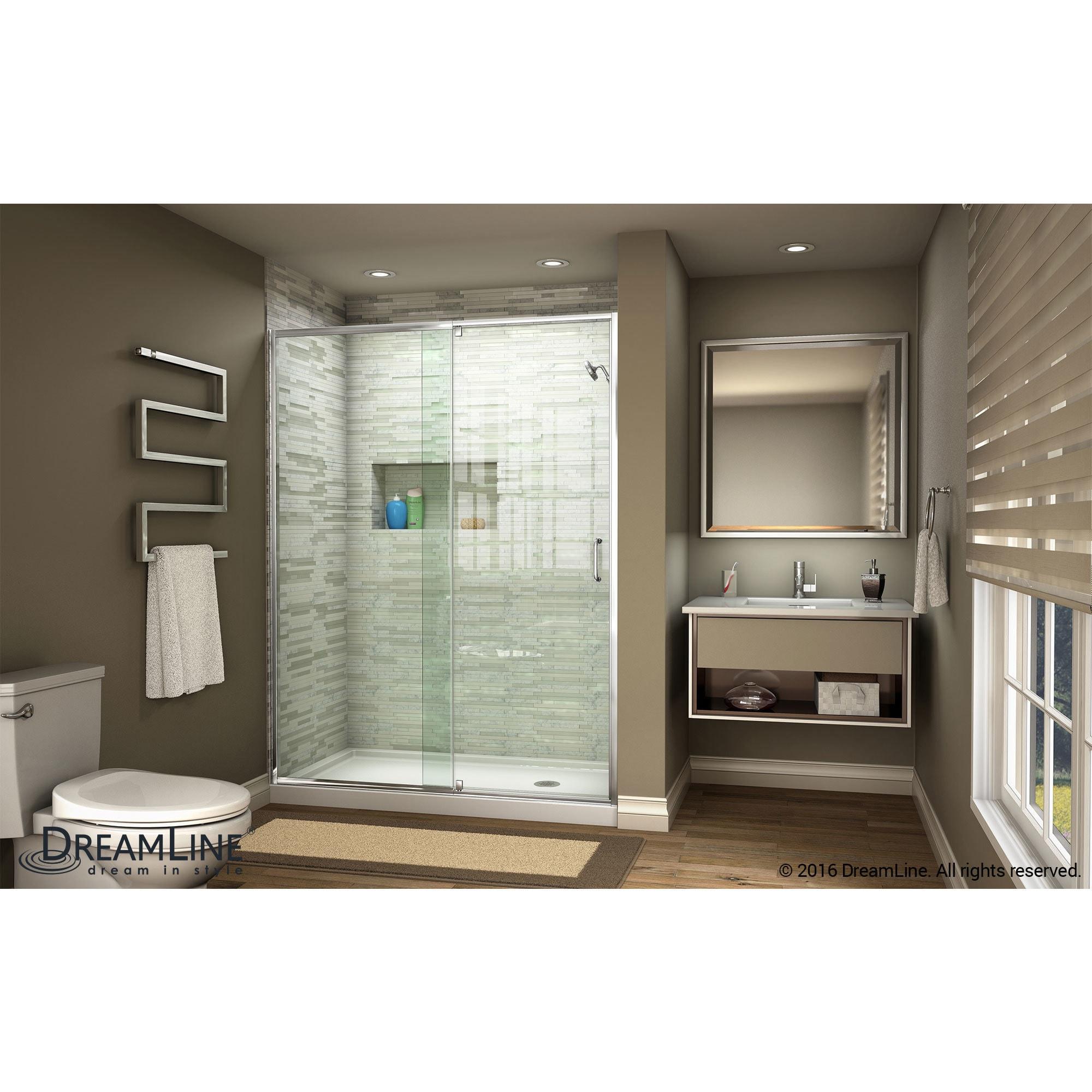 DreamLine Flex 44-48 in  W x 72 in  H Semi-Frameless Pivot Shower Door -  44