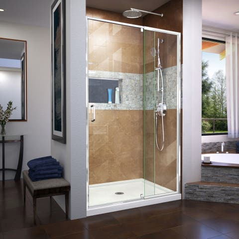 "DreamLine Flex 44-48 in. W x 72 in. H Semi-Frameless Pivot Shower Door - 44"" - 48"" W"