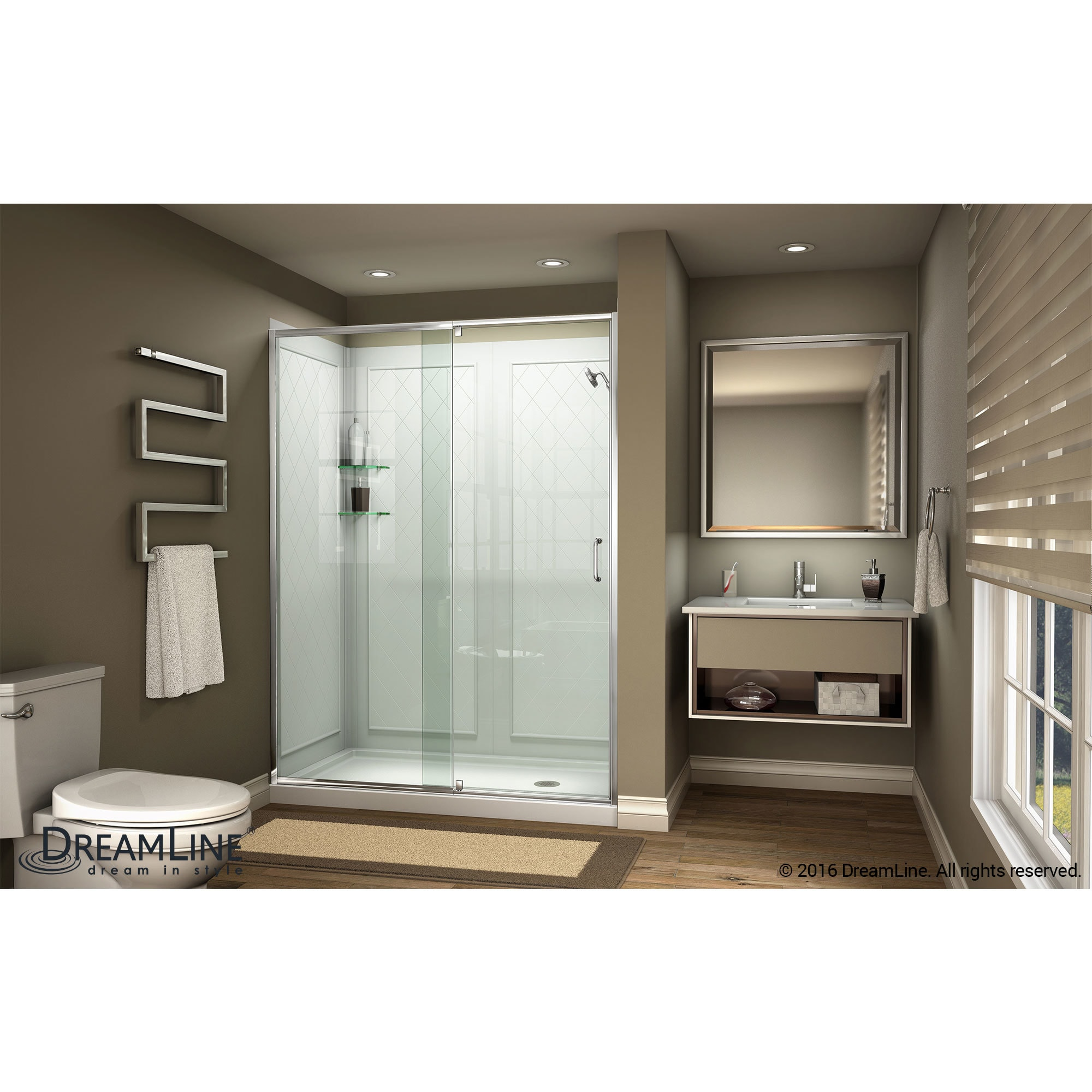 Dreamline Flex 56 60 In W X 72 In H Semi Frameless Pivot Shower Door 56 60 W