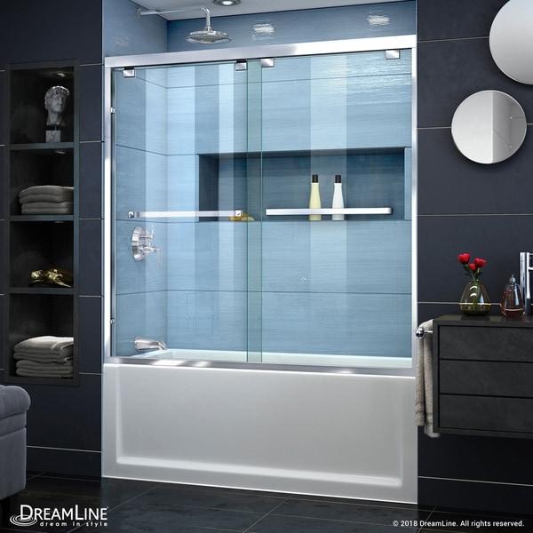 DreamLine Encore 56-60 in. W x 58 in. H Semi-Frameless Bypass Sliding Tub Door