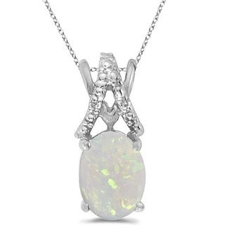 14k Gold 1 2/5ct TDW Diamond & Oval Opal Solitaire Pendant Necklace