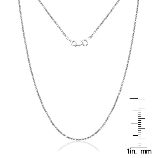 Length 14 kt White Gold 9 in 14k White Gold 1.5mm Solid Polished Cable Chain