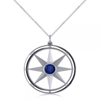 14k Gold 2/3ct Blue Sapphire Compass Pendant Fashion Necklace
