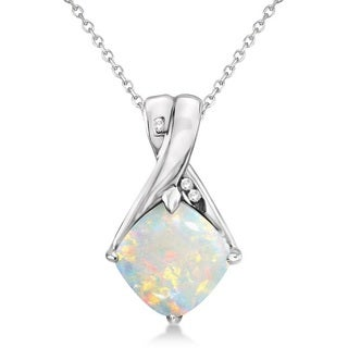 14k Gold Diamond & Cushion Opal Pendant Necklace