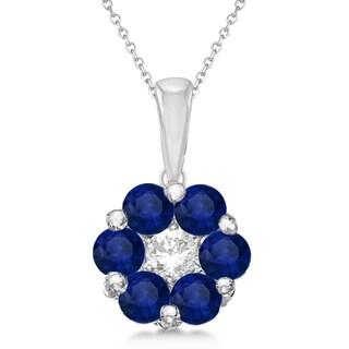 14k Gold 1 2/5ct Flower Diamond & Blue Sapphire Pendant Necklace