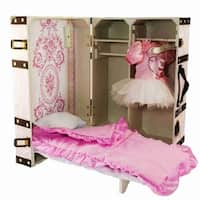 "The Queen's Treasures Pretty in Pink Doll Trunk Suitcase Clothes Storage, With Murphy Bed, Bedding, Hangers for 18"" Dolls"