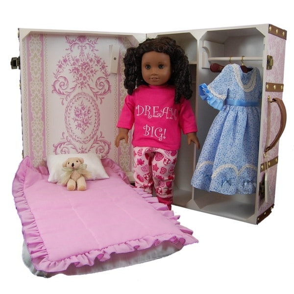 """The Queen's Treasures Pretty in Pink Doll Trunk Suitcase Clothes Storage, With Murphy Bed, Bedding, Hangers for 18"""" Dolls"""
