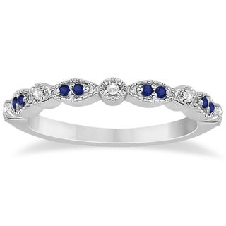 18k Gold 1/4ct Blue Sapphire & Diamond Marquise Ring Band (G-H, SI1-SI2)