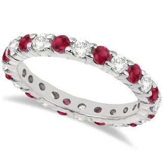 14k Gold 2 1/3ct TDW Eternity Diamond & Ruby Ring Band (G-H, SI1-SI2)