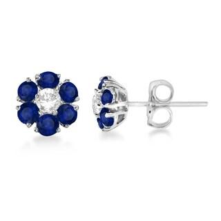 14k Gold 1 9/10ct TDW Diamond & Sapphire Flower Cluster Earrings