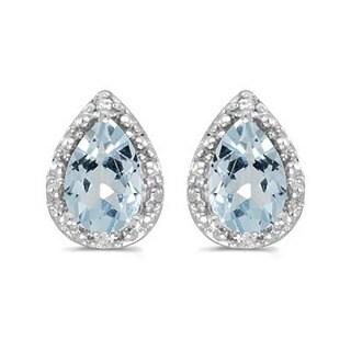 14k Gold 1 1/5ct TDW Diamond & Pear Aquamarine Stud Earrings