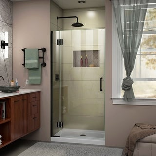 DreamLine Unidoor-X 32 in. W x 72 in. H Frameless Hinged Shower Door - 32 W (Satin Black Finish)