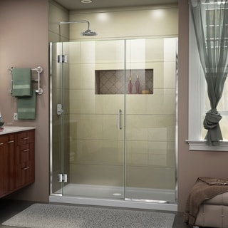 """DreamLine Unidoor-X 55 1/2-56 in. W x 72 in. H Frameless Hinged Shower Door - 55.5"""" - 56"""" W"""