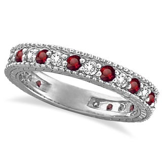 14k Gold 1 1/10ct Diamond & Ruby Anniversary Ring Band (G-H, SI1-SI2)