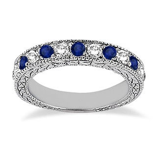 14k Gold 1.05ct Antique Diamond & Blue Sapphire Wedding Ring Band (G-H, SI1-SI2)