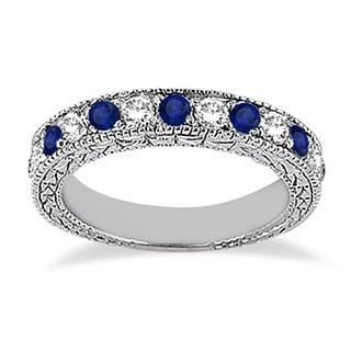 14k Gold 1.05ct Antique Diamond & Blue Sapphire Wedding Ring Band (G-H, SI1-SI2)