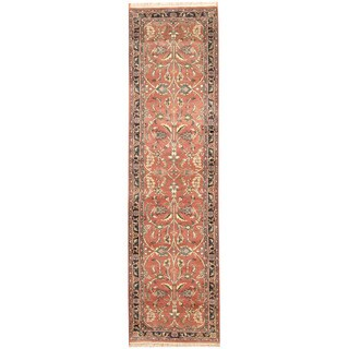 Herat Oriental Indo Hand-knotted Mahal Salmon/ Navy Wool Runner (2'7 x 9'6)