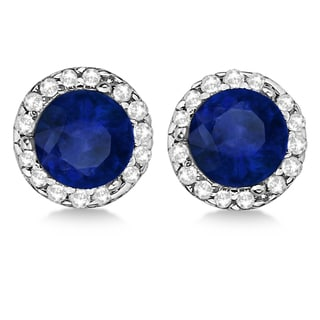 14k Gold 1 1/10ct TDW Diamond and Blue Sapphire Halo Earrings