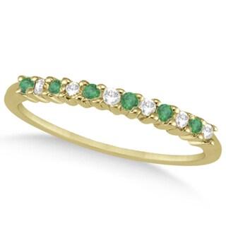 14k Gold 1/5ct Petite Diamond & Emerald Wedding Band (G-H, SI1-SI2)