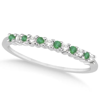 14k Gold 1/5ct Petite Diamond & Emerald Wedding Band (G-H, SI1-SI2)