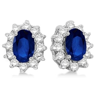 14k Gold 2.05ct Oval Blue Sapphire & Diamond Accented Earrings