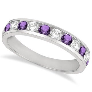 14k Gold Amethyst and 1/2ct TDW Diamond Band (G-H, SI1-SI2)