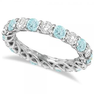 14k Gold 4 1/5ct TW Diamond and Aquamarine Eternity Ring Band (G-H, SI1-SI2)