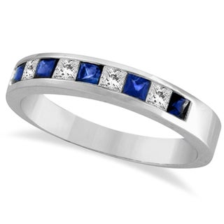 14k Gold 3/4ct TDW Princess-cut Channel-set Diamond & Blue Sapphire Band (G-H, SI1-SI2)
