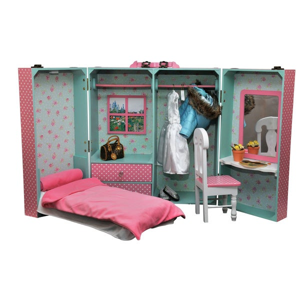 "The Queen's Treasures Pink Storage Trunk With Bed, Bedding, Desk, Chair, Hangers & Mirror Fits 18"" Girl Dolls"