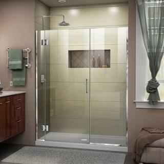 """DreamLine Unidoor-X 66-66 1/2 in. W x 72 in. H Frameless Hinged Shower Door - 66"""" - 66.5"""" W"""