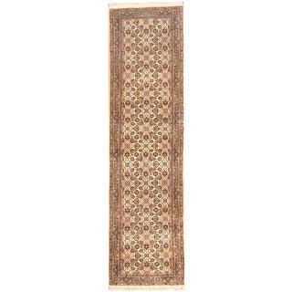 Herat Oriental Indo Hand-knotted Bidjar Ivory/ Green Wool Runner (2'8 x 9'10)