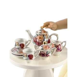 "The Queen's Treasures Antique Rose Fine China Service for Two Tea Set, Kitchen Dish Accessory for 18"" Dolls"