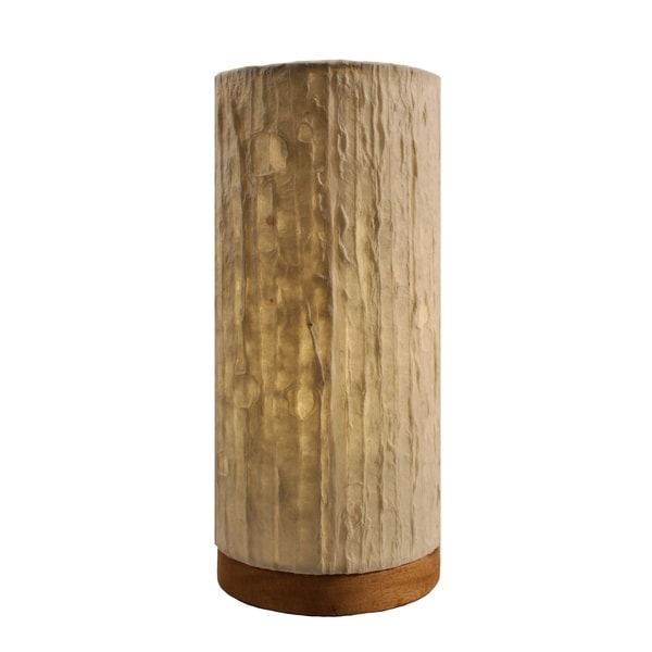 Handmade Paper Cylinder Lines Table Lamp