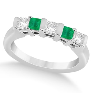 14k Gold 1/2ct 5 Stone Diamond & Green Emerald Princess Ring (G-H, SI1-SI2)