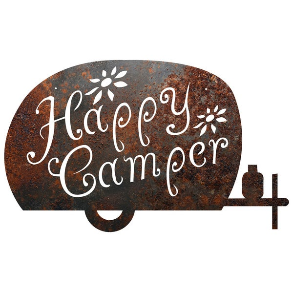 Rustic Metal 'Happy Camper' Sign - Free Shipping On Orders