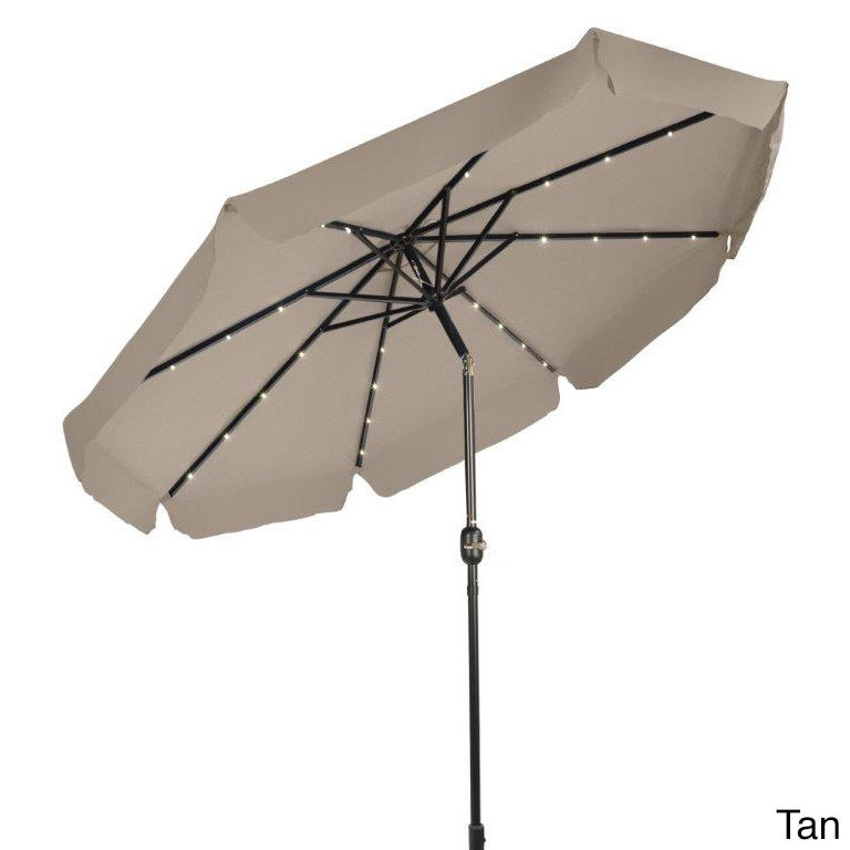 Trademark Innovations 9u0027 Deluxe Solar Powered LED Lighted Patio Umbrella  With Decorative Edges