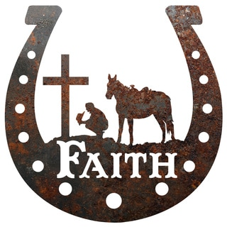 Rustic Metal Horseshoe 'Faith' Cowboy at the Cross Sign